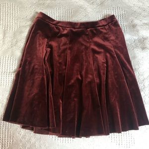 Urban Outfitters red velvet skirt